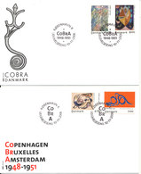 Denmark FDC 23-8-2006 COBRA ART PAINTING Complete Set Of 4 On 2 Covers With Cachet - FDC