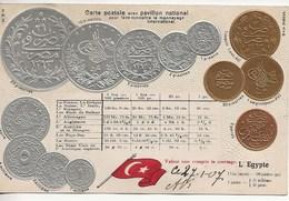 Carte Postale  Avec Monnayage National-L' Egypte. - Monnaies (représentations)