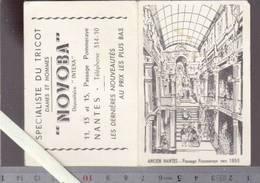 Calendrier Petit Format 1958 - Nantes Passage Pommeraye, Tricots Novoba - Calendriers