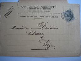 Carte Privée TP N°43 BRUXELLES 1900 - Entete OFFICE DE PUBLICITE J. LEBEGUE & Cie EDITEURS - 1869-1888 Lion Couché