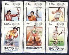 +B1428. Bhutan 1986. Olympic Games Gold Medals. Michel 968-73. MNH(**) - Bhutan