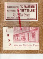 92- BOULOGNE SUR SEINE- 1957 RARE CALENDRIER BLANCHISSERIE G. WARTNER-155 RUE AGUESSEAU-124 RUE GALLIENI- - Formato Grande : 1941-60