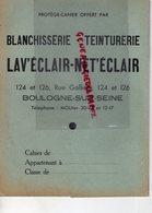92- BOULOGNE SUR SEINE- PROTEGE CAHIER BLANCHISSERIE TEINTURERIE G. WARTNER- 124 RUE GALLIENI- - B