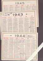 Calendrier Petit Format 1943 1944 1945 - Lot De Trois - Calendriers