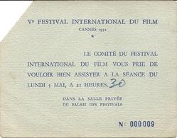 5 EM FESTIVAL DE CANNES . 1952 - Biglietti D'ingresso
