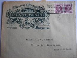 """BRUXELLES 1926 - Enveloppe Publicitaire - """"LA NATIONALE"""" A. BEAUWIN & F. GEEURICKX Fabrique D'encres D'imprimerie - Drukkerij & Papieren"""