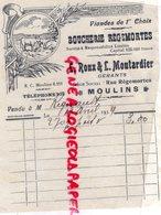 03- MOULINS- FACTURE L. ROUX & L. MOUTARDIER- BOUCHERIE REGEMORTES- BOUCHER- 1934 - Food
