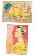 2 Cartes Postales : Ernest Delahaye, Rimbaud En 1871 / A. Rimbaud, 3 Têtes De Bourgeois (Musée A. Rimbaud, Charleville) - Arts