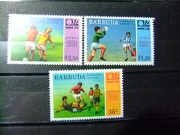 BARBUDA 1974 Wold Cup 74 Munich ALEMANIA Con Resultado Del Partido Yvert 165 / 167 ** MNH - Coppa Del Mondo