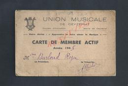 MUSIQUE CARTE DE MEMBRE ACTI DE 1945 UNION MUSICALE DE CEYZÉRIAT : - Cartes