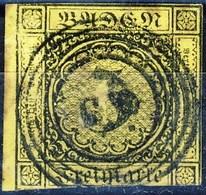 Germania Baden  1851 UN N. 2 K 3 Giallo Chiaro Usato Cat. € 20 - Baden