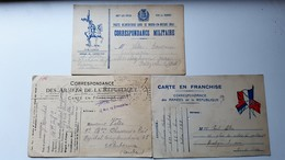 Correspondances Des Armées De La République.  Trois Cartes En Franchises écrites - France
