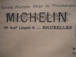 Enveloppe Publicitaire De 1925 MICHELIN Société Anonyme Belge Du Pneumatique à BRUXELLES - Publicités