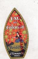 75- PARIS- ETIQUETTE GAUFREE EAU DE COLOGNE VIRIDIFLOR- J. GIRAUD- PARFUM- PARFUMEUR - Labels