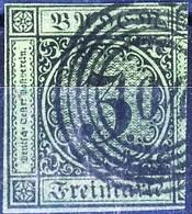 Germania Baden  1853 - 58 UN N. 6 K 3 Verde Usato Cat. € 10 Corto A Destra - Baden