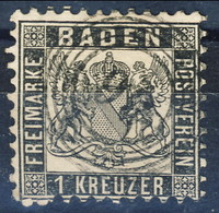 Germania Baden  1862 - 65 UN N. 16 Kr. 1 Nero Dent. 10 Usato Cat. € 20 - Baden