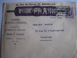 BRUXELLES 1925 - Enveloppe Publicitaire - Etablt. FRANK - Fabrique De Pates à Rouleaux, Fonderie, Encres & Couleurs - Imprimerie & Papeterie