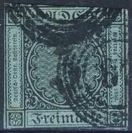 Germania Baden 1858 UN N. 8 Kr 3 Nero Su Blu Usato Cat. € 80 - Baden