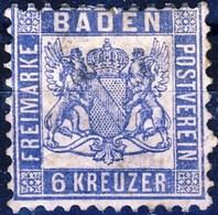 Germania Baden 1860-62 UN N. 10 K 3 Oltremare MH Cat. € 35 - Baden
