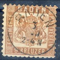 Germania Baden 1862-65 UN N. 19 K 9 Bruno Rossastro Usato Cat. € 38 - Baden
