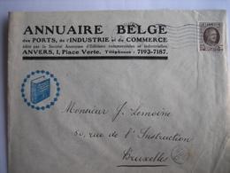 BRUXELLES 1922 - Enveloppe Publicitaire - ANNUAIRE BELGE Des Ports, De L'Industrie Et Du Commerce - Imprenta & Papelería
