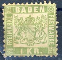 Germania Baden 1868 UN N. 23 K1 Verde Giallo MH Cat. € 5 - Baden