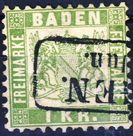 Germania Baden 1868 UN N. 23 K1 Verde Giallo Usato Cat. € 12 - Baden