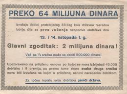 LOTTERY-CROATIA 1930th - Biglietti Della Lotteria