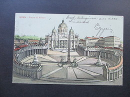 AK Italien 1907 Roma Piazza S. Pietro. Nach Dresden Laubegast Gesendet! - Places & Squares