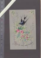 Image Originale Celluloid  Datée 1883 - Marine Ancre Phare - Hirondelle Où Mon Coeur T'envoie - Grande Finese Peinture - Old Paper