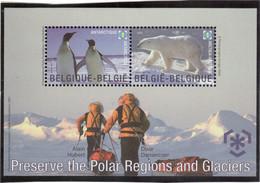 CP021 - BELGIQUE  Bloc Feuillet 130 **(MNH) De 2007. - Protection Des Zones Polaires Et Des Glaciers. - Belgique