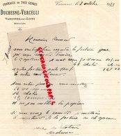 49- VARENNES SUR LOIRE- RARE LETTRE MANUSCRITE SIGNEE DUCHESNE VERCELLI- FROMAGERIE FROMAGE -1933 - Food