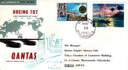Australia 1961 Qantas First Flight From Manila To Tokyo, Flight Cover - Primi Voli