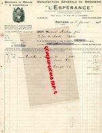 86- POITIERS- RARE FACTURE L' ESPERANCE- MANUFACTURE BROSSERIE-SANGLIER - CRINIERE LE MOUTON-14 RUE CHAUSSEE-1936 - Petits Métiers