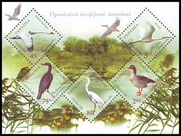 UKRAINE 2004. BIRDS OF DANUBE BIOSPHERE RESERVE. GREY GEESE. Mi-Nr. 673-677 Block 48. MNH (**) - Oies