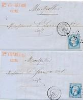 """1854 Décembre """"Cette"""" 20 C Bleu Laiteux S LAC X 2 TB. - 1853-1860 Napoléon III"""