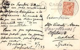 "1933.- YV 185. POSTCARD POSTMARK ""ECONOMIC CONFERENCE LONDON"" - 1902-1951 (Reyes)"