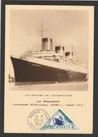 """Monaco - Carte Maximum -1953 - Le Paquebot - Cachet Premier Jour Du Timbre - """"Le Normandie"""" - Bateaux"""