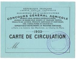 PARIS. CONCOURS GENERAL AGRICOLE. MINISTERE De L'AGRICULTURE. CARTE De CIRCULATION. 1903. - Biglietti D'ingresso