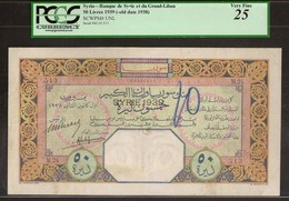 SYRIA. 50 Livres 1939. Banque De Syrie Et Du Grand - Liban. Pick Unlisted. - Siria