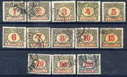 BOSNIA & HERZEGOVINA 1904 Postage Due Set Of 13, Used.  Michel Porto 1-13 - Bosnia And Herzegovina