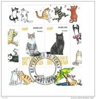 Tchad, Ciad 2010 ; Gatti,cats + Un Giro Di Gatti Ballerini Che Li Circondano;minifoglio Used. - Gatti