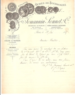 Facture Ocres De Bourgogne Jouannin Sonnet Paris Rue D'Assas Dupuis Auxerre Yonne Sauilly Diges 1887 - Old Professions