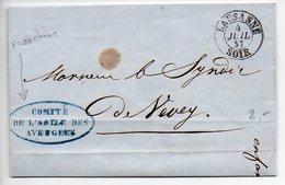 Suisse : Lettre (SANS Texte) De 1857 En Franchise (cachet 'Comité De L'asile Des Aveugles') - CaD De Lausanne Soir - ...-1845 Préphilatélie