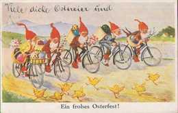 Ein Frohes Osterfest, Zwerge Auf Fahrrad Mit Ostereiern, Mühlheim Ruhr, Künstler-Postkarte, Feiern & Feste, Ostern - Ostern