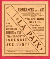 BUVARD (Réf : V 404) LA PAIX  ASSURANCES SUR LA VIE  BUVARDS, PROTÈGE CAHIERS ILLUSTRÉS - Bank & Insurance