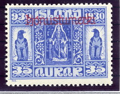 ICELAND 1930 Millenary Of Parliament 35 Aur,. Overprinted Official MNH / **.  Michel Dienst 52 - Officials