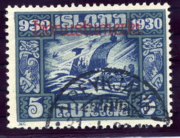 ICELAND 1930 Millenary Of Parliament 5 Aur. Overprinted Official Used.  Michel Dienst 45 - Officials