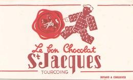 "Buvard "" Le Bon Chocolat St Jacques Tourcoing "" ( Taches, Pliures, 21 X 13 Cm ) - Cocoa & Chocolat"