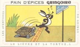 """Buvard """" Pain D'épices Gringoire Le Lièvre Et La Tortue """" ( Rousseurs , 17,5 X 10,5 Cm ) - Gingerbread"""